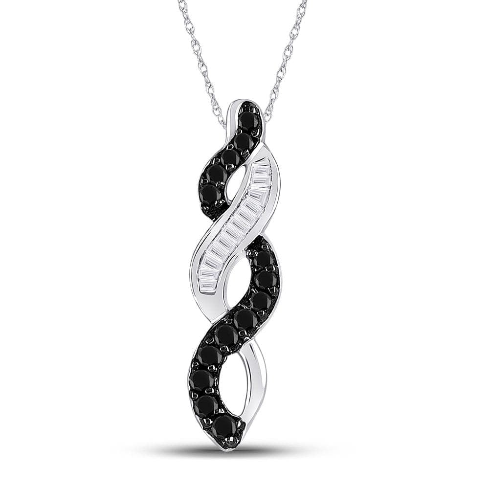 14kt White Gold Womens Round Black Color Enhanced Diamond Woven Infinity Pendant 1/3 Cttw