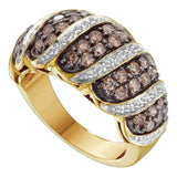 14kt Yellow Gold Womens Round Brown Color Enhanced Diamond Cascading Band Ring 1-1/2 Cttw