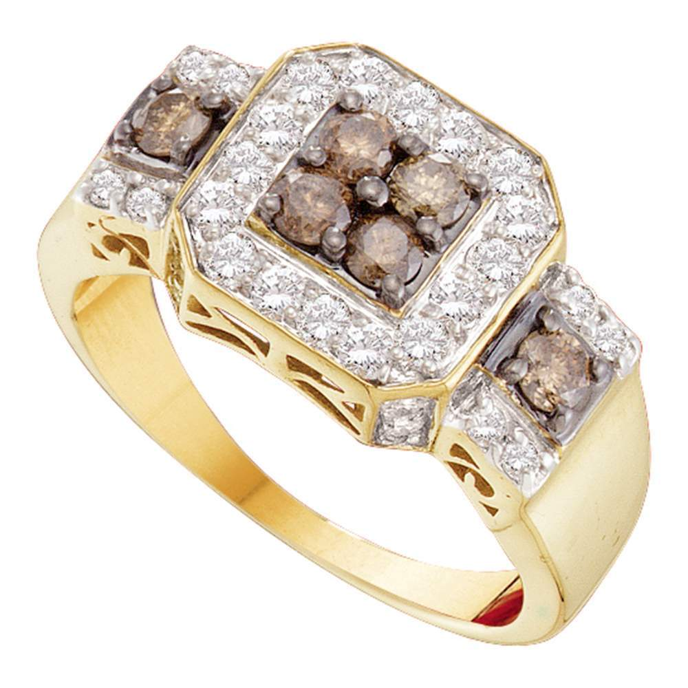 14kt Yellow Gold Womens Round Cognac-brown Color Enhanced Diamond Square Cluster Ring 1.00 Cttw