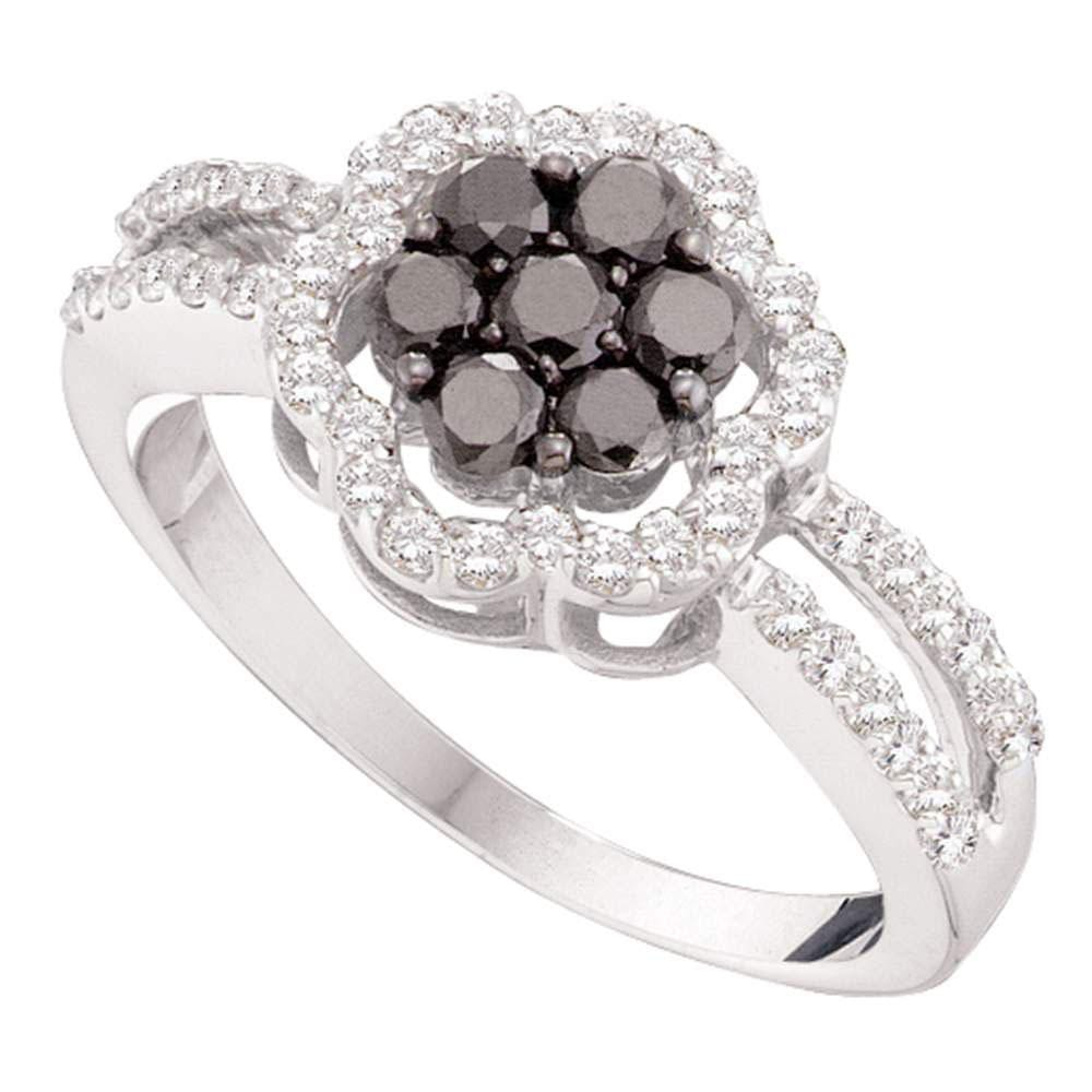 14kt White Gold Womens Round Black Color Enhanced Diamond Flower Cluster Ring /8 Cttw
