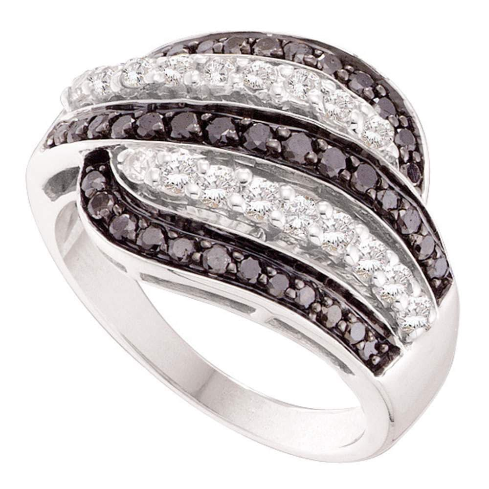 14kt White Gold Womens Round Black Color Enhanced Diamond Five Row Striped Band Ring /8 Cttw