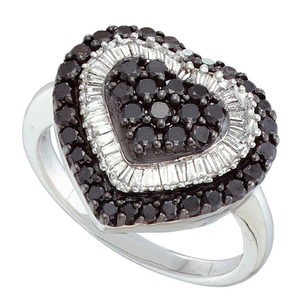 14kt White Gold Womens Round Black Color Enhanced Diamond Heart Ring 1-1/5 Cttw
