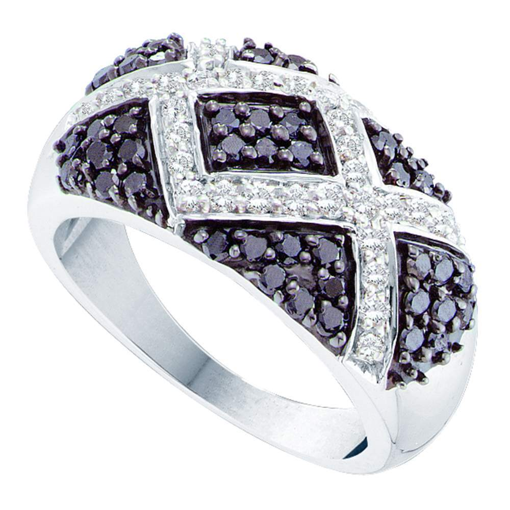 14kt White Gold Womens Round Black Color Enhanced Diamond Fashion Ring 1.00 Cttw