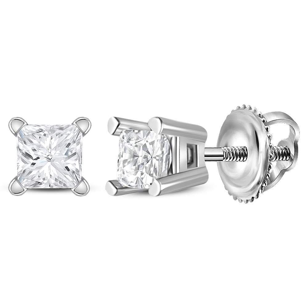 14kt White Gold Unisex Princess Diamond Solitaire Stud Earrings 1/5 Cttw