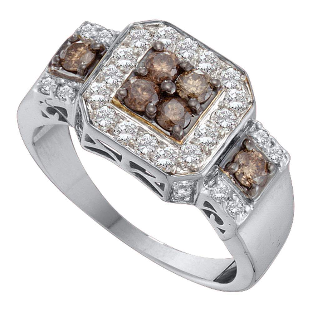 14kt White Gold Womens Round Cognac-brown Color Enhanced Diamond Cluster Ring 1.00 Cttw