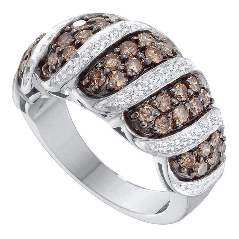 14kt White Gold Womens Round Brown Color Enhanced Diamond Cascading Band Ring 1-1/2 Cttw