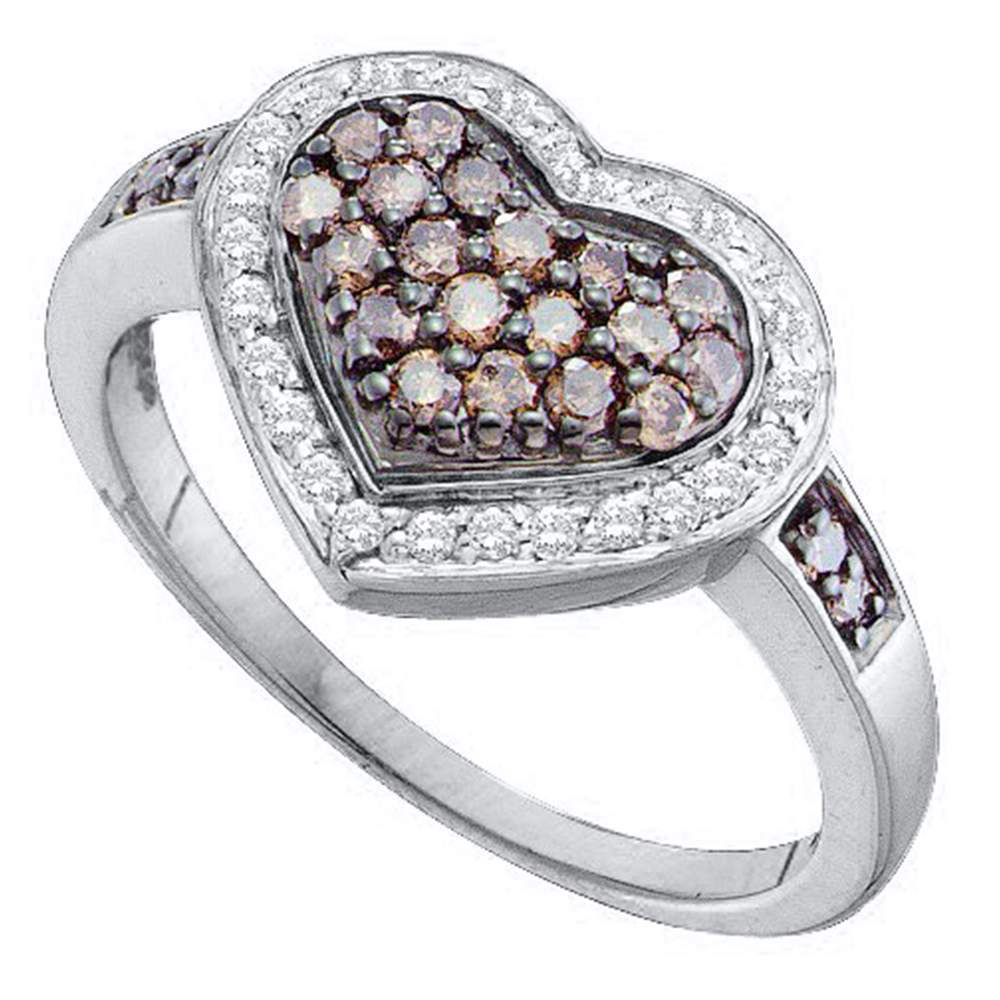 14kt White Gold Womens Round Cognac-brown Color Enhanced Diamond Framed Heart Cluster Ring 1/2 Cttw