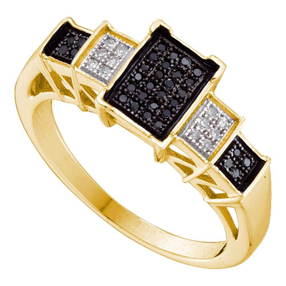 10kt Yellow Gold Womens Round Black Color Enhanced Diamond Rectangle Cluster Ring 1/6 Cttw
