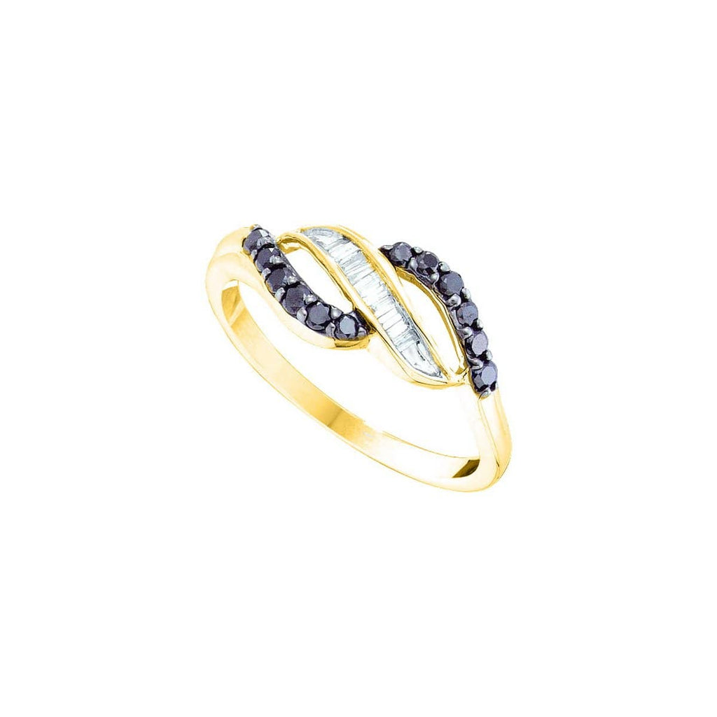 14kt Yellow Gold Womens Round Black Color Enhanced Diamond Openwork Crossover Ring 1/3 Cttw