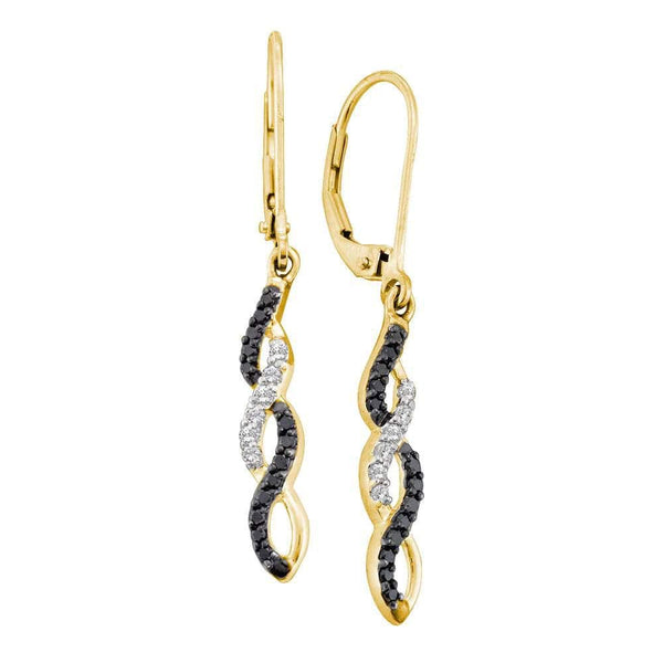 14kt Yellow Gold Womens Round Black Color Enhanced Diamond Infinity Dangle Leverback Earrings 1/3 Cttw