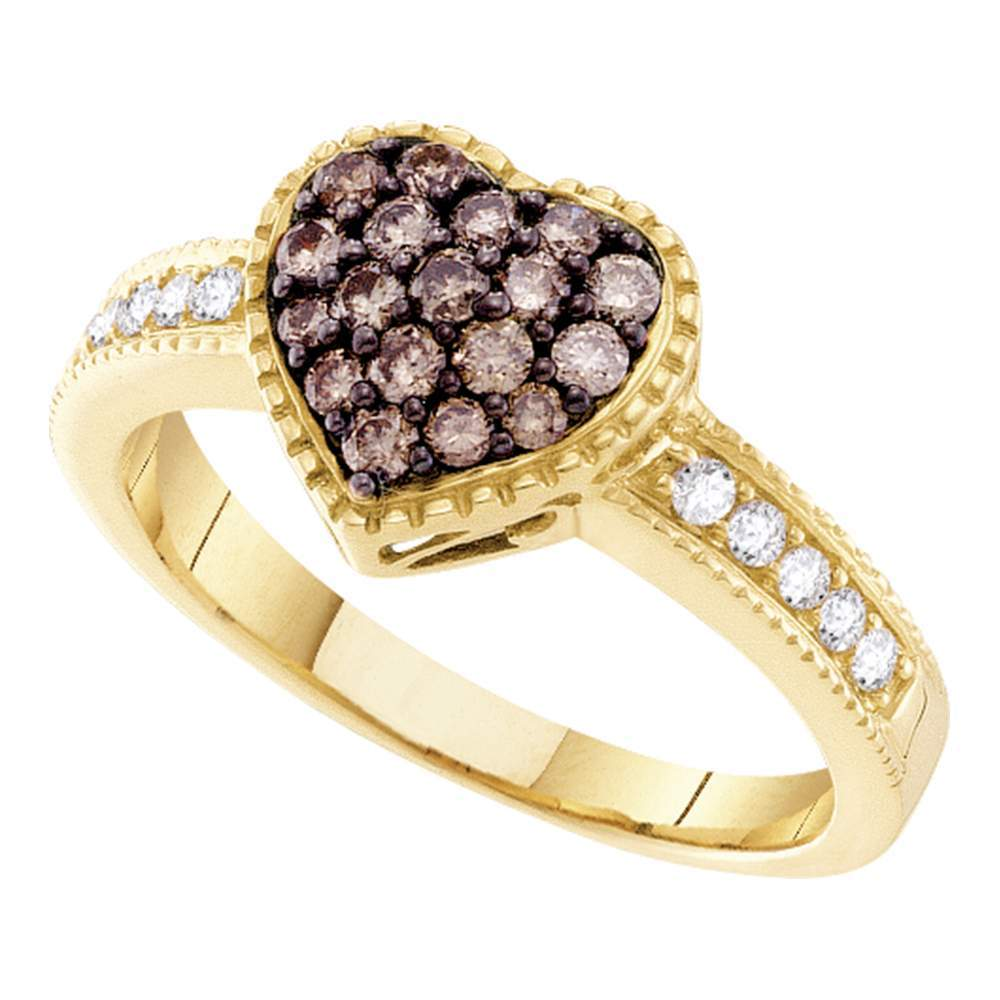14kt Yellow Gold Womens Round Cognac-brown Color Enhanced Diamond Heart Cluster Ring 3/8 Cttw