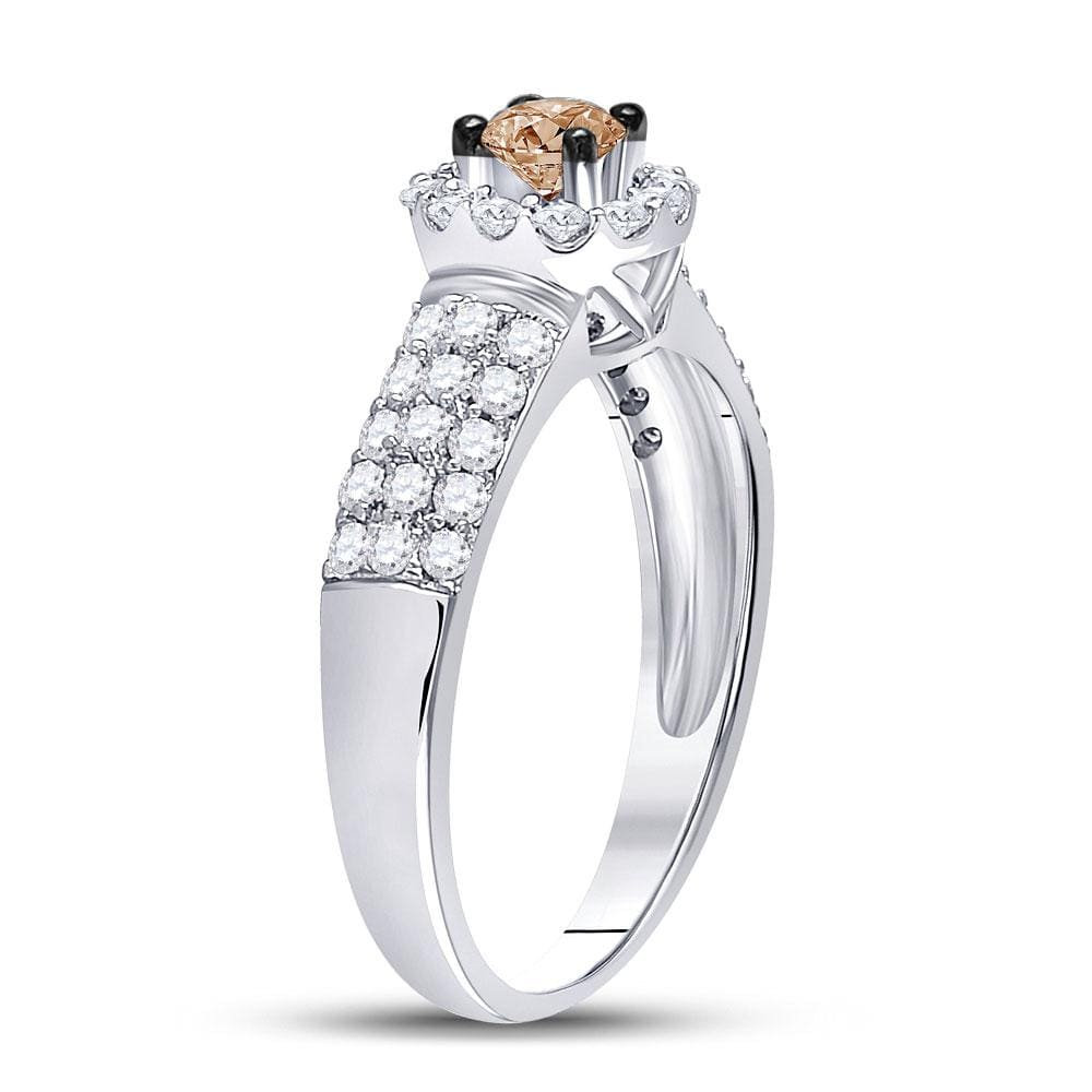 14kt White Gold Round Brown Diamond Solitaire Halo Bridal Wedding Engagement Ring 3/4 Cttw