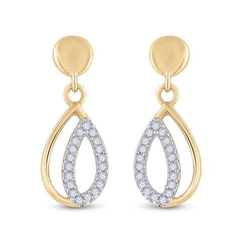 10kt Yellow Gold Womens Round Diamond Teardrop Dangle Screwback Earrings 1/8 Cttw