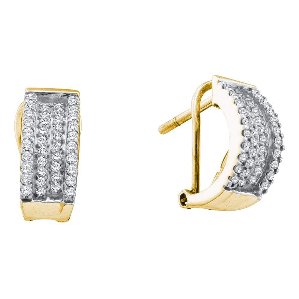 14kt Yellow Gold Womens Round Diamond Huggie French-clip Earrings 1/2 Cttw