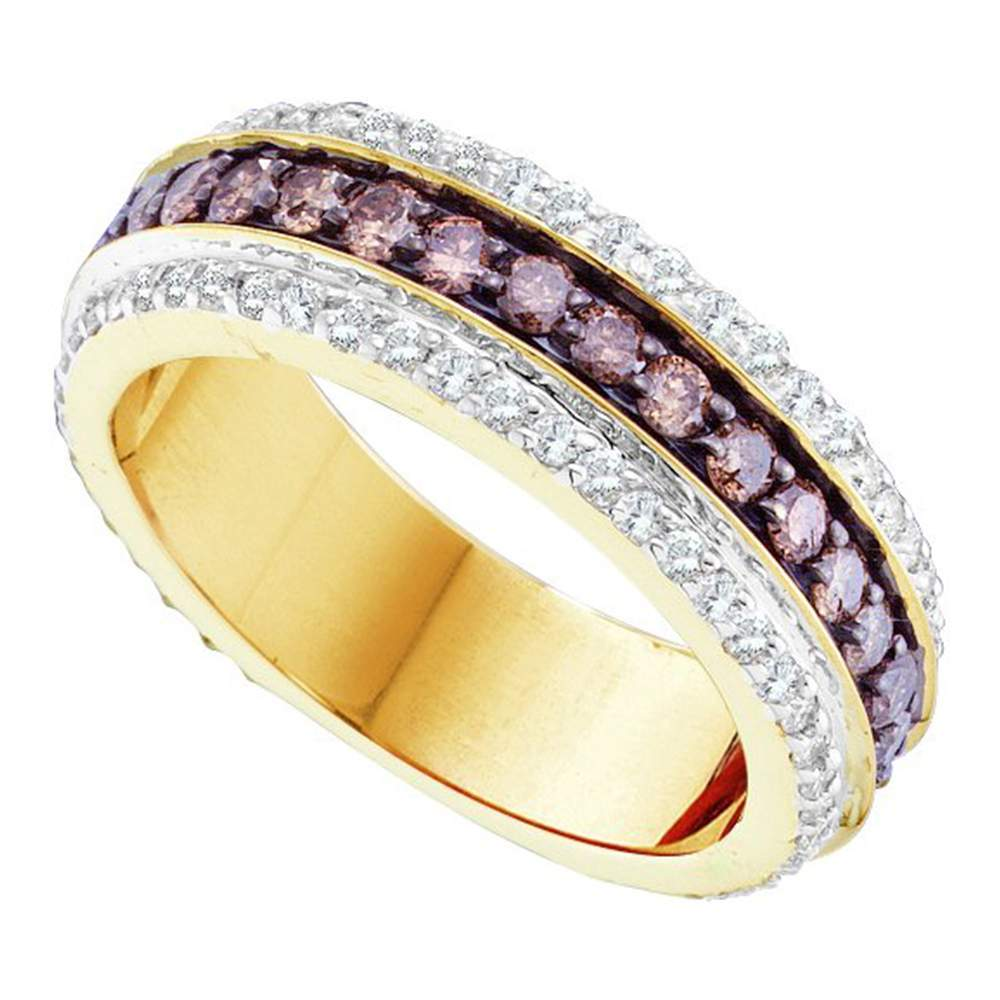 14kt Yellow Gold Womens Round Cognac-brown Color Enhanced Diamond Band Ring 1-3/8 Cttw