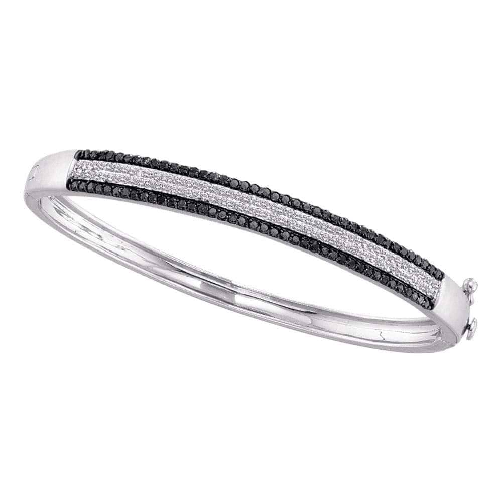14kt White Gold Womens Round Black Color Enhanced Pave-set Diamond Bangle Bracelet 1-3/8 Cttw
