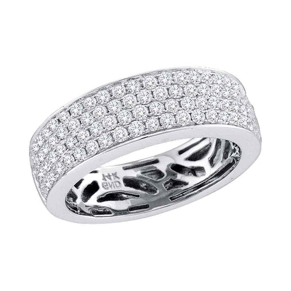 14kt White Gold Womens Round Pave-set Diamond Comfort Wedding Band 1.00 Cttw
