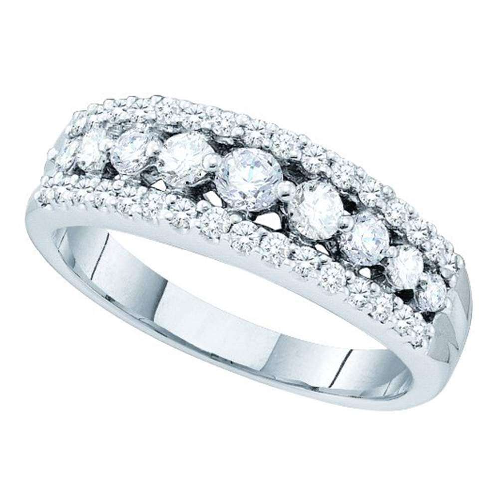 14kt White Gold Womens Round Pave-set Diamond Triple Row Band Ring 3/4 Cttw