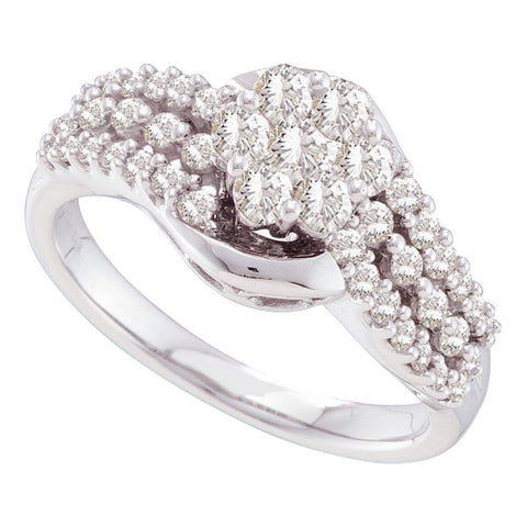 14kt White Gold Womens Round Diamond Flower Cluster Contoured Ring 3/4 Cttw