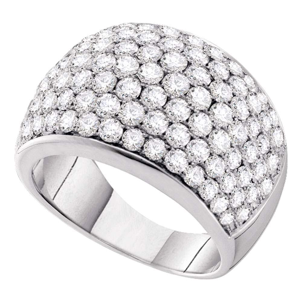 14kt White Gold Womens Round Pave-set Diamond Cocktail Ring 3 Cttw