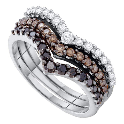 14kt White Gold Womens Round Black Color Enhanced Diamond Chevron Stackable 3-piece Band Ring 1.00 Cttw