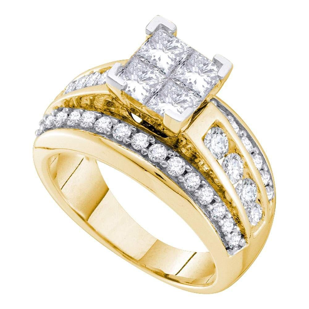 14kt Yellow Gold Womens Princess Diamond Cluster Bridal Wedding Engagement Ring 1 - 1/2 Cttw