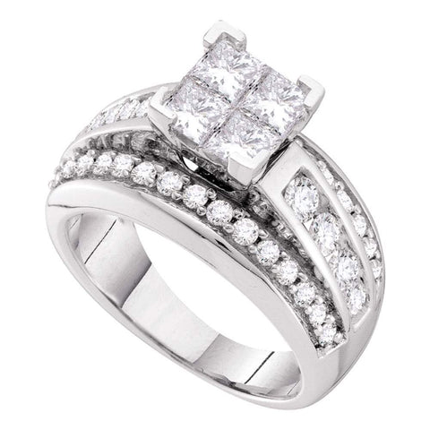 14kt White Gold Womens Princess Diamond Cluster Bridal Wedding Engagement Ring 1-1/2 Cttw