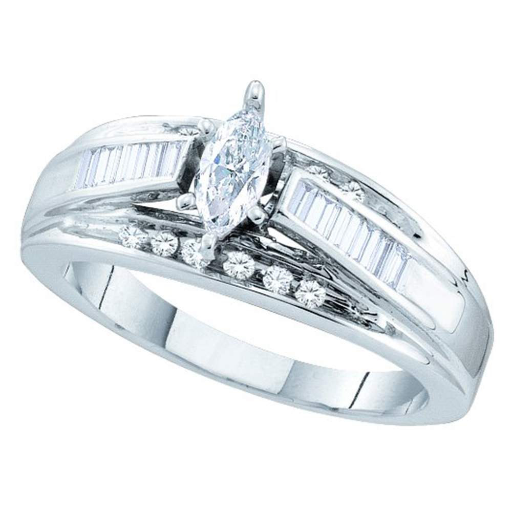 14kt White Gold Womens Marquise Diamond Solitaire Bridal Wedding Engagement Ring 3/8 Cttw