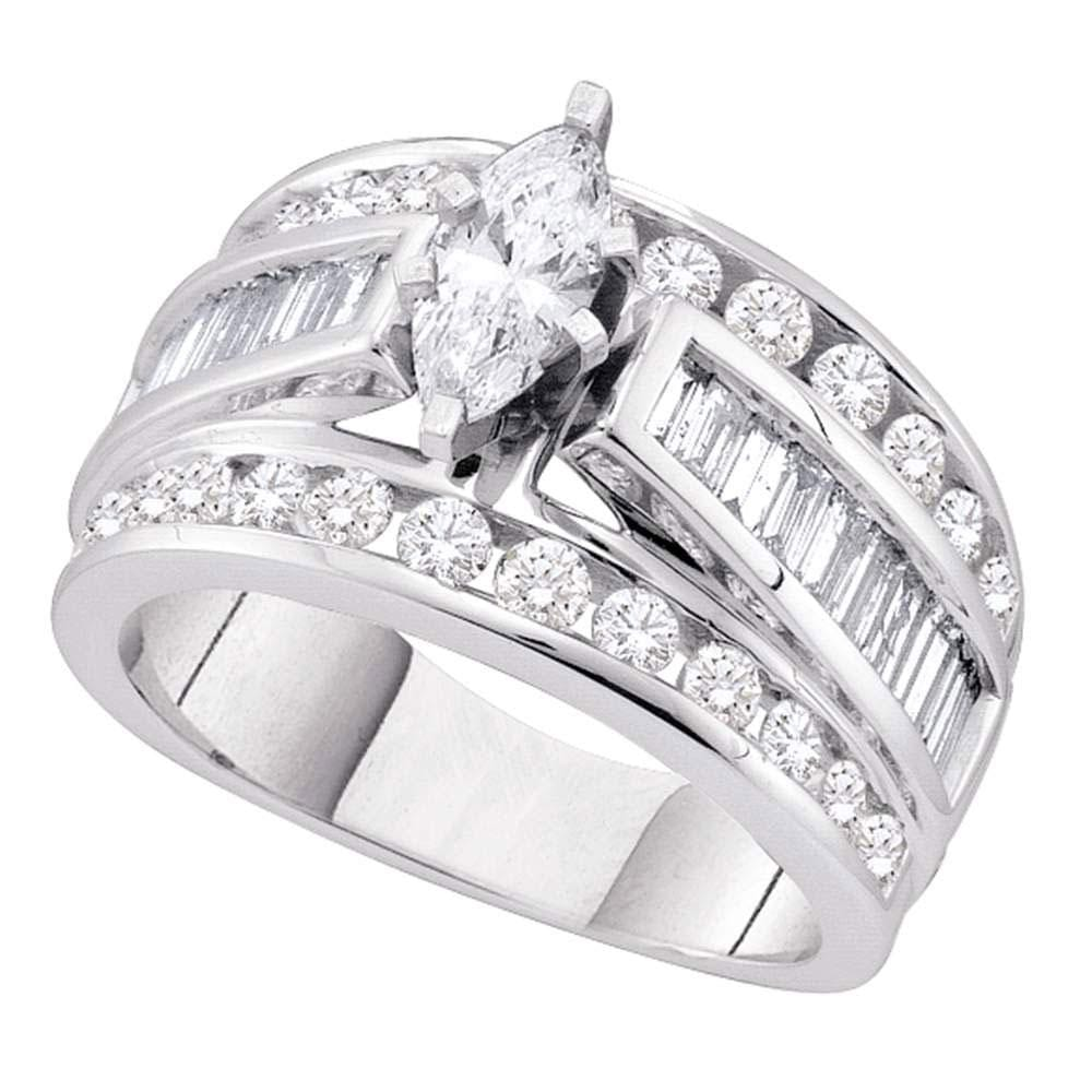 14kt White Gold Marquise Diamond Solitaire Bridal Wedding Engagement Ring 1 Cttw