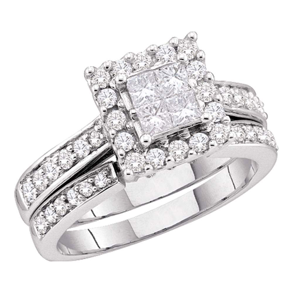 14kt White Gold Princess Diamond Halo Bridal Wedding Ring Band Set 1-1/2 Cttw