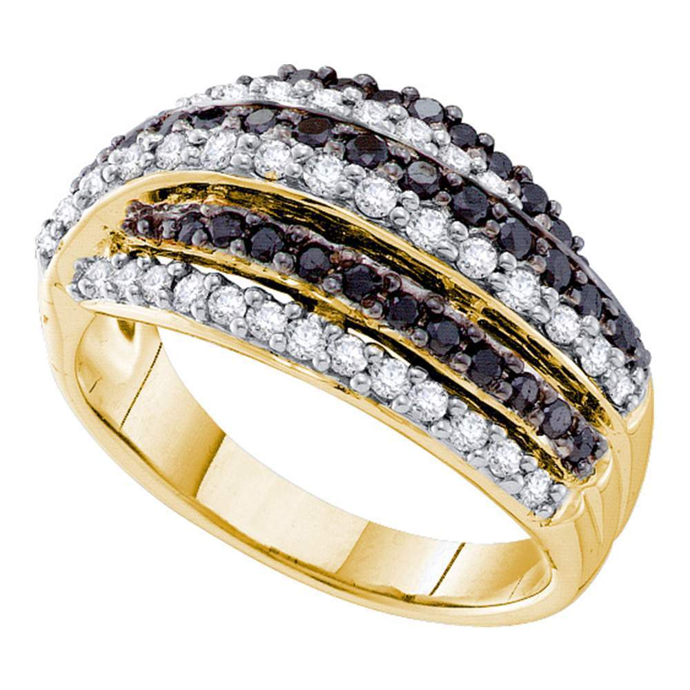 14kt Yellow Gold Womens Round Black Color Enhanced Diamond Stripe Band 1-1/10 Cttw