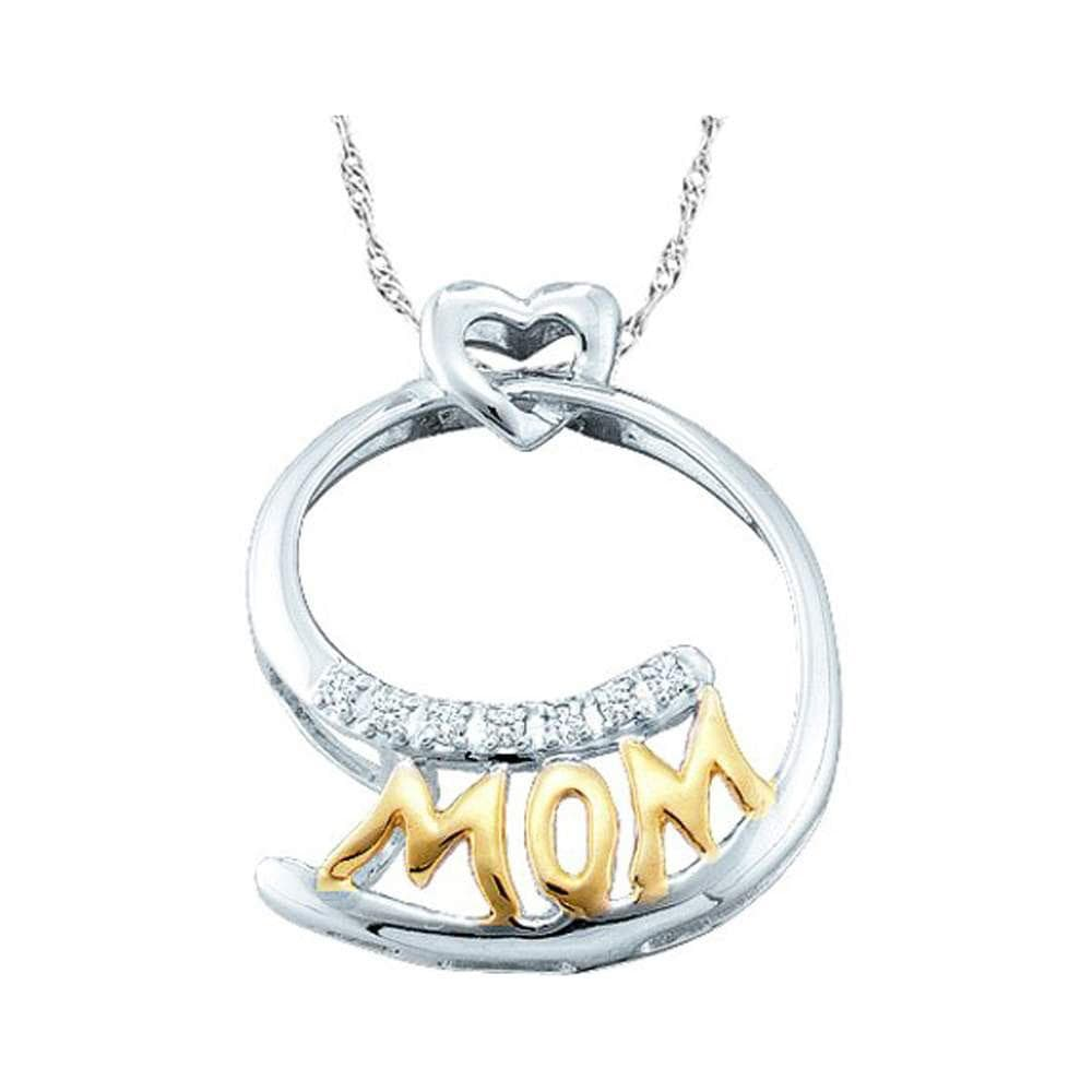 10kt Two-tone Gold Womens Round Diamond Mom Mother Pendant 1/20 Cttw