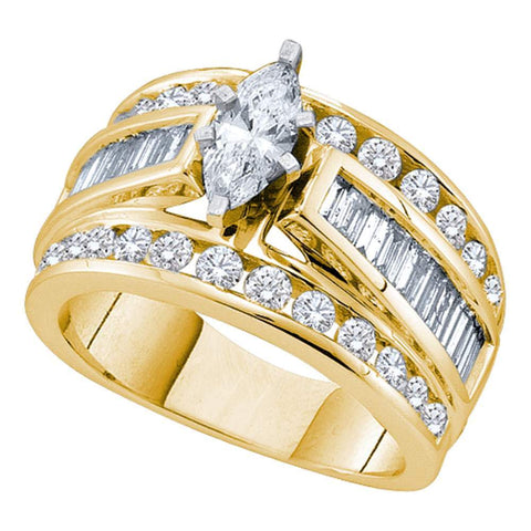 14kt Yellow Gold Womens Marquise Diamond Solitaire Bridal Wedding Engagement Ring 3.00 Cttw