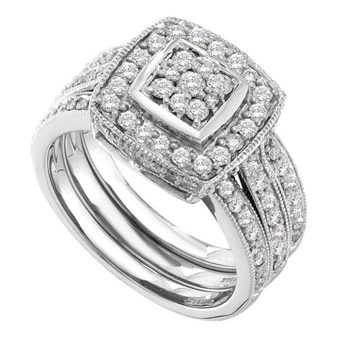 14kt White Gold Womens Diamond Cluster 3-Piece Bridal Wedding Engagement Ring Band Set 1.00 Cttw