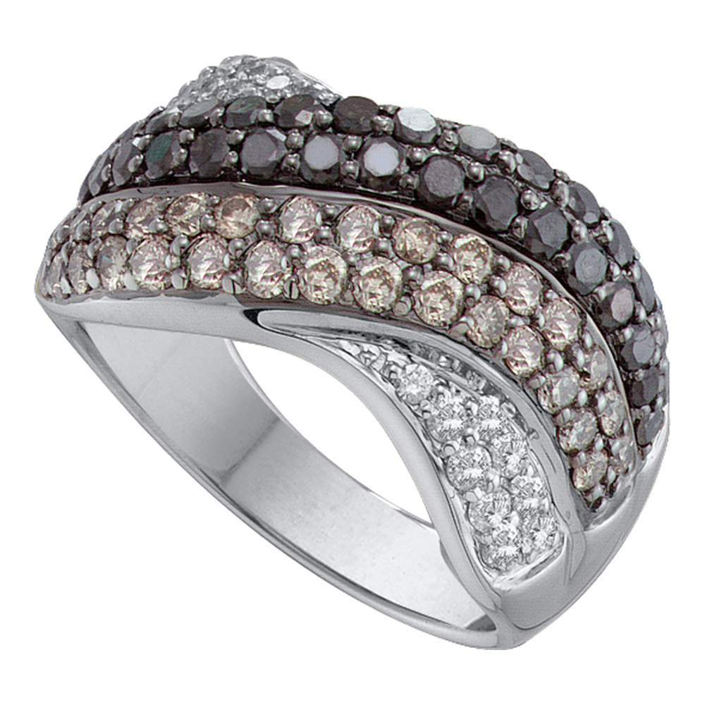 14kt White Gold Womens Round Black Color Enhanced Diamond Striped Crossover Band Ring 1-7/8 Cttw