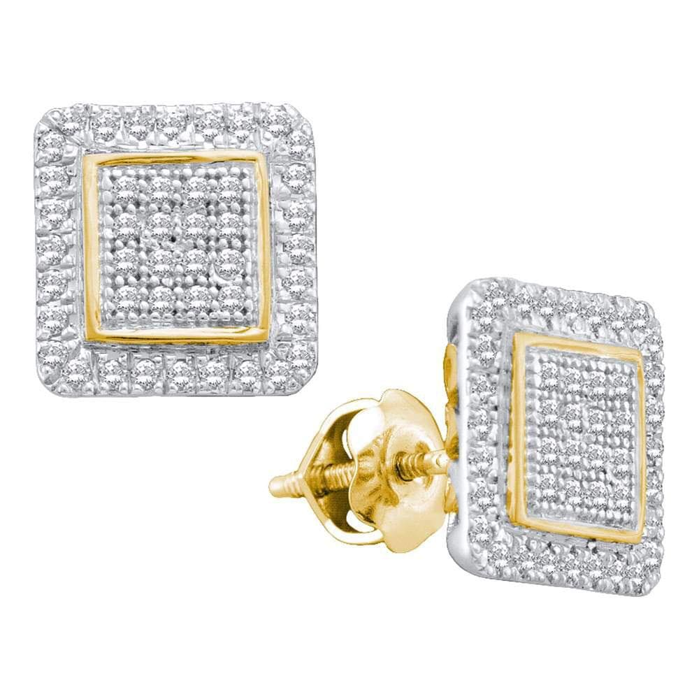 10kt Yellow Gold Womens Round Diamond Cluster Square Stud Earrings 1/3 Cttw