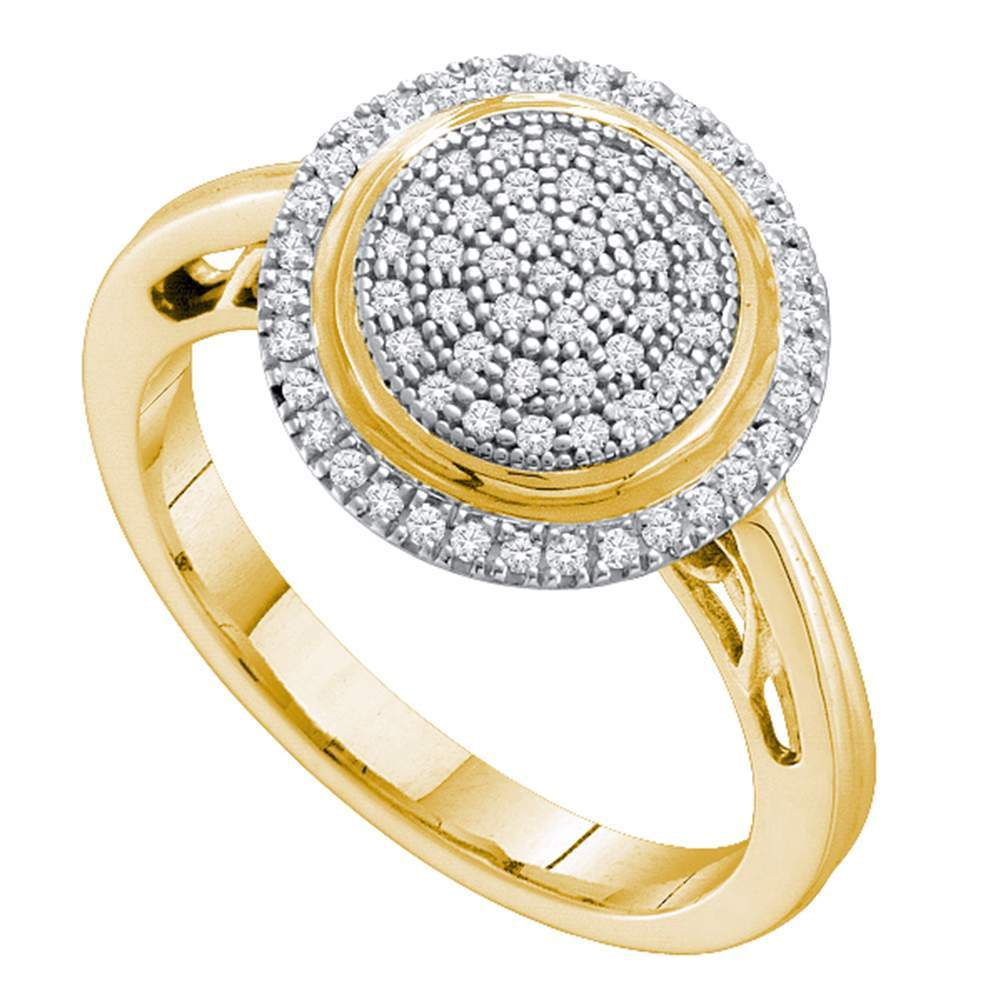 10kt Yellow Gold Womens Round Pave-set Diamond Concentrict Circle Cluster Ring 1/4 Cttw