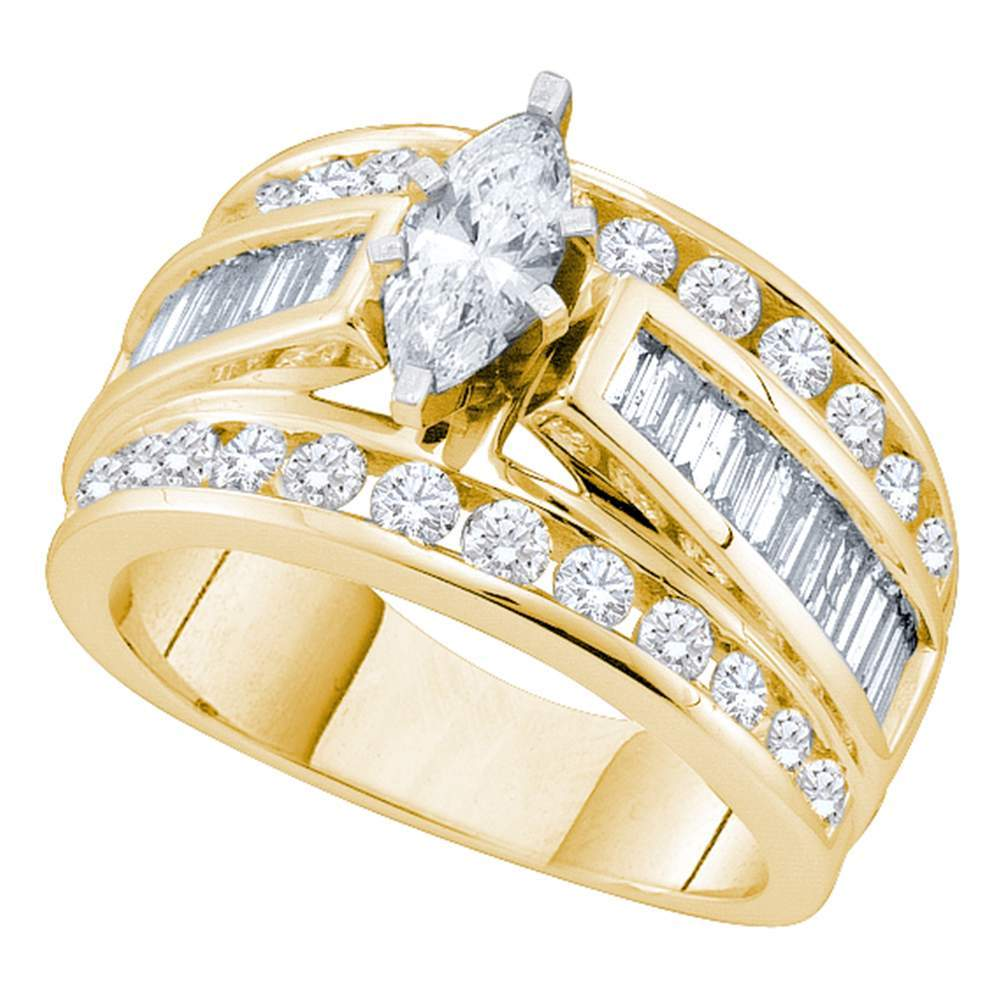 14kt Yellow Gold Womens Marquise Diamond Solitaire Bridal Wedding Engagement Ring 2.00 Cttw