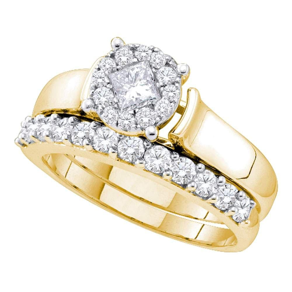 14kt Yellow Gold Womens Princess Diamond Soleil Bridal Wedding Engagement Ring Band Set 1.00 Cttw