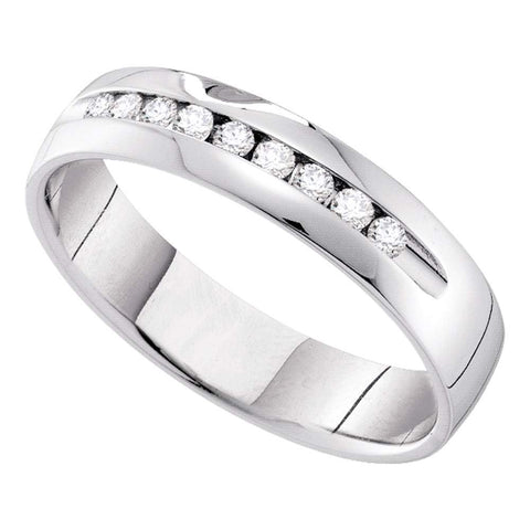 14kt White Gold Mens Round Diamond Single-row Channel-set Wedding Band Ring 1/2 Cttw