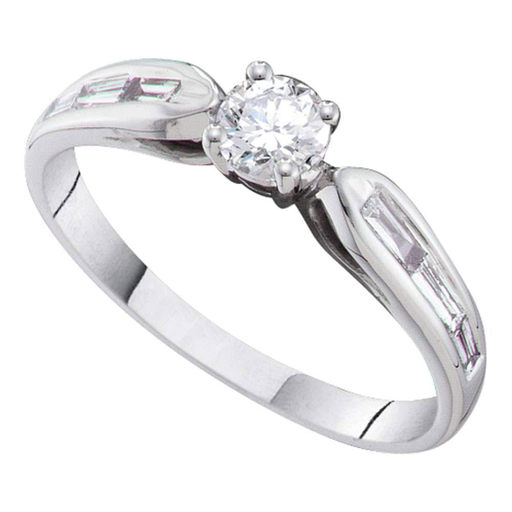 14kt White Gold Round Diamond Solitaire Bridal Wedding Engagement Ring 1/2 Cttw