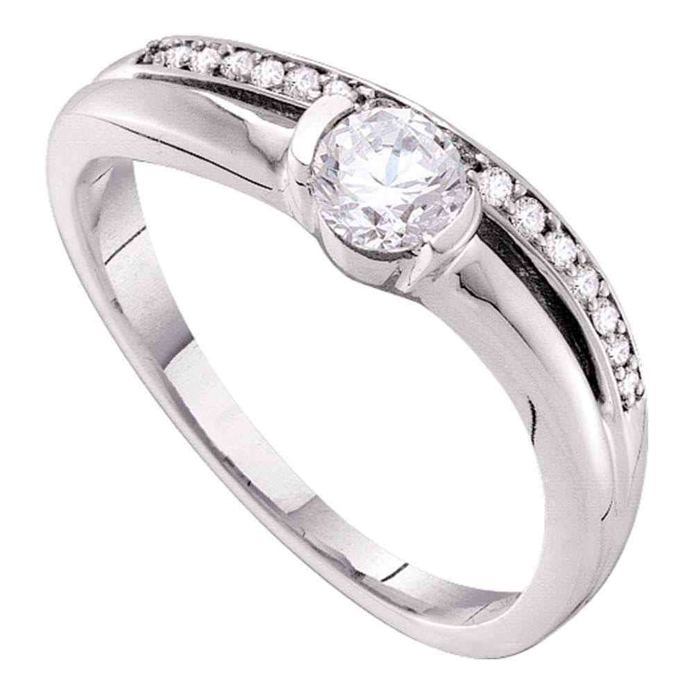 14kt White Gold Round Diamond Solitaire Bridal Wedding Engagement Ring 3/8