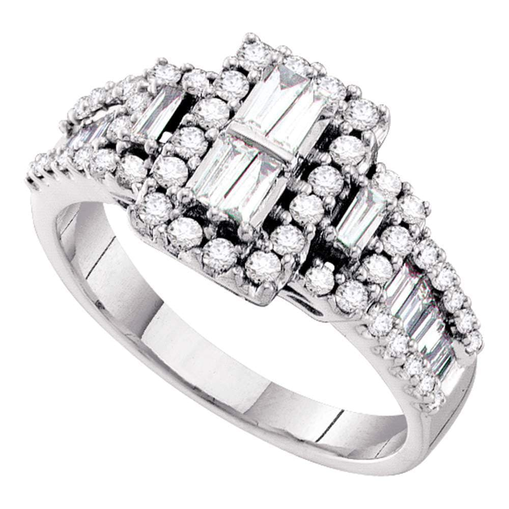 14kt White Gold Womens Baguette Diamond Rectangle Frame Cluster Ring 1.00 Cttw