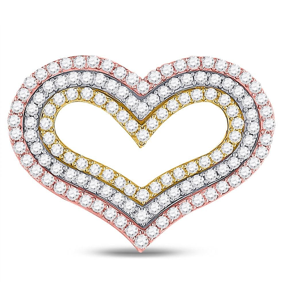 14kt Tri-Tone Gold Womens Round Diamond Heart Pendant 1-1/3 Cttw