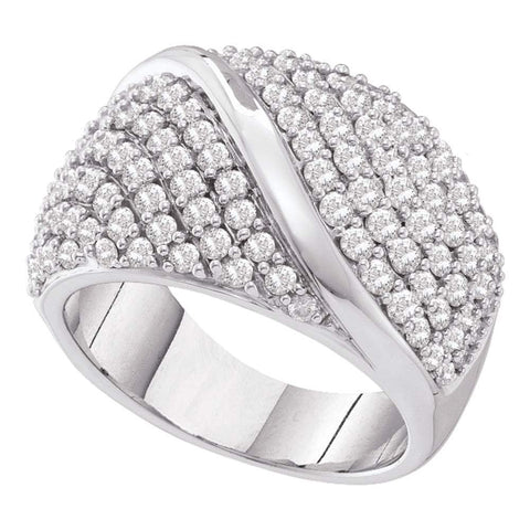 14kt White Gold Womens Round Diamond Fashion Band Ring 2.00 Cttw