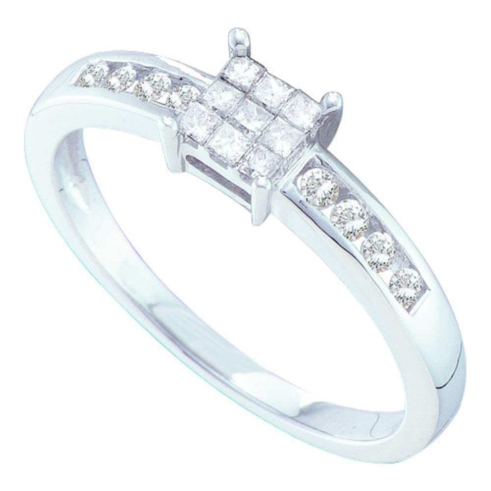 14kt White Gold Womens Princess Diamond Square Cluster Ring 1/4 Cttw