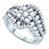 14kt White Gold Womens Round Diamond Flower Cluster Swirl Cocktail Ring 2.00 Cttw