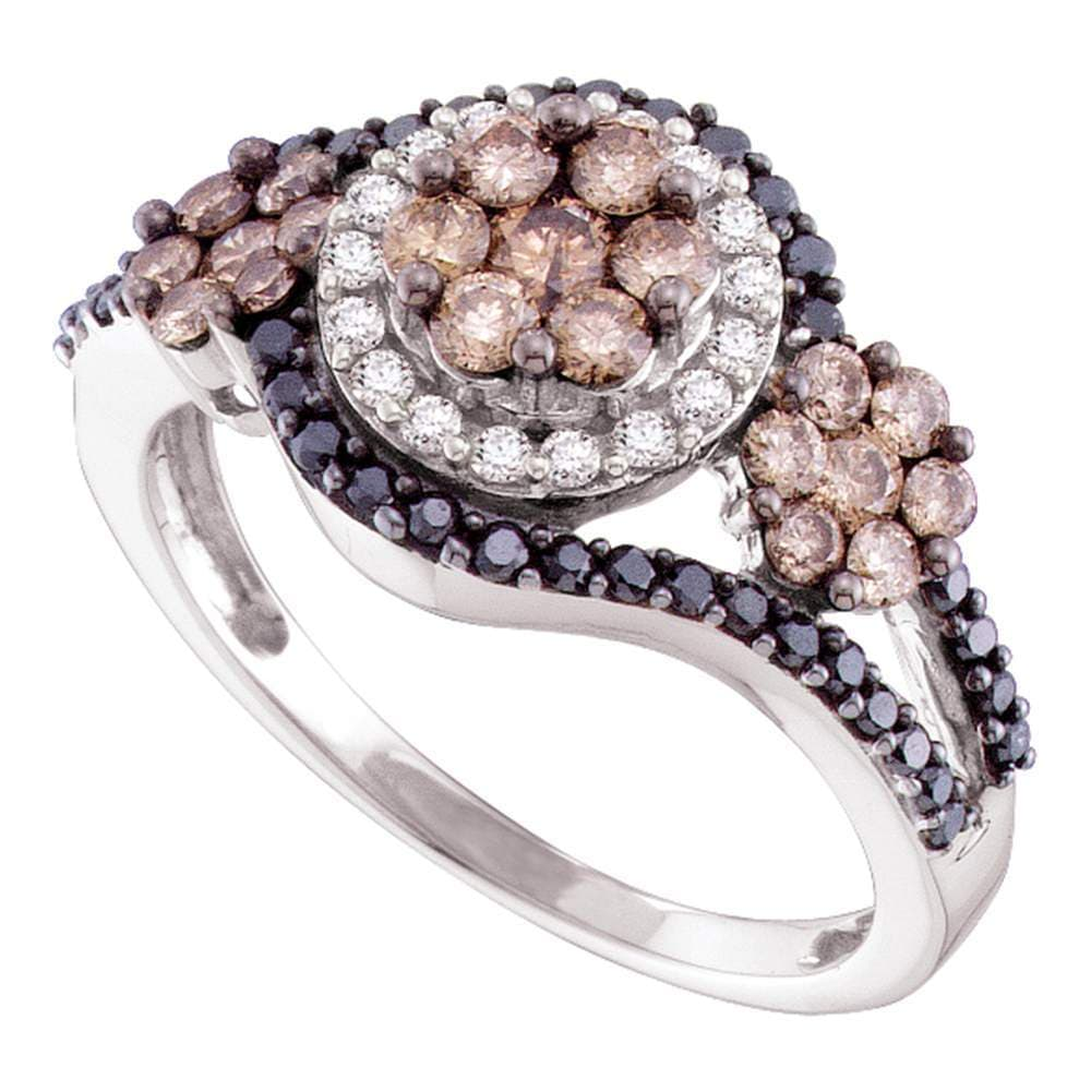 14kt White Gold Womens Round Cognac-brown Black Color Enhanced Diamond Framed Cluster Ring 1.00 Cttw