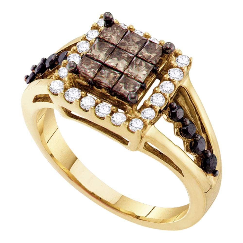 14kt Yellow Gold Womens Princess Cognac-brown Color Enhanced Diamond Framed Cluster Ring 1.00 Cttw
