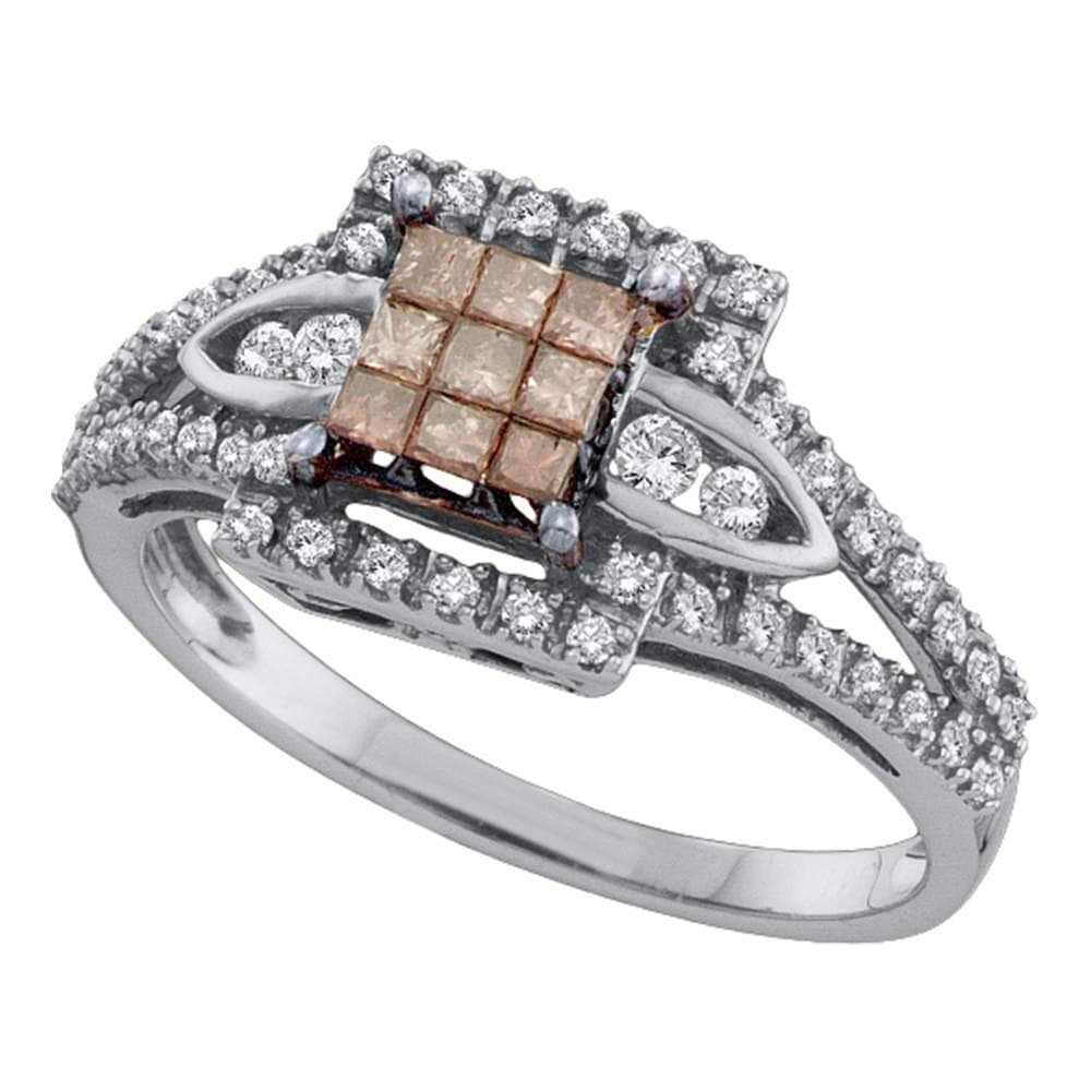 14kt White Gold Womens Princess Cognac-brown Color Enhanced Diamond Square Cluster Ring 1/2 Cttw